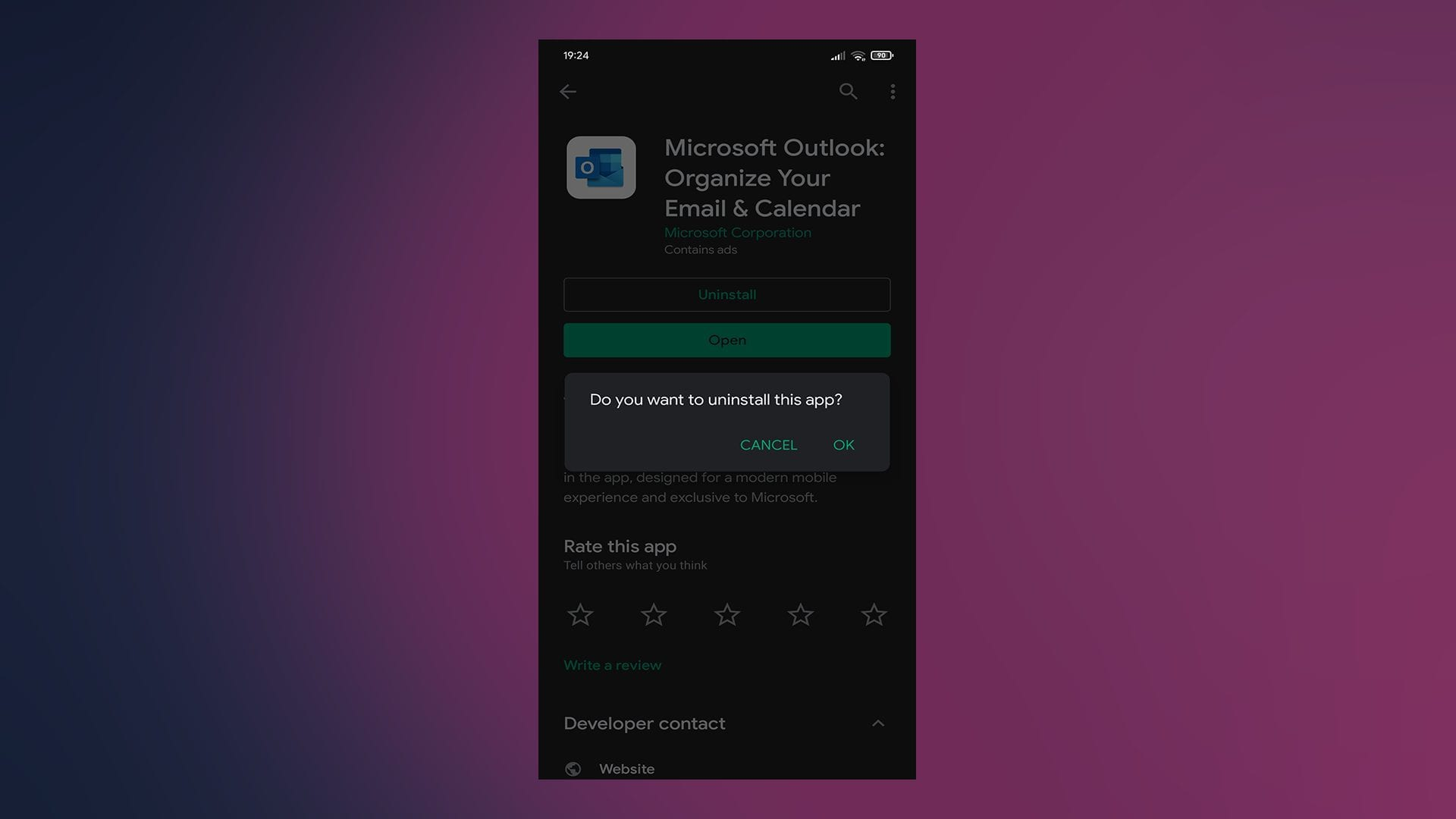 outlook not syncing android